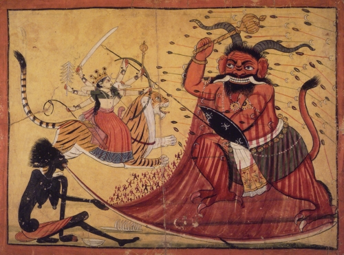 Durga Slaying the Buffalo Demon, Raktabij, and Kali